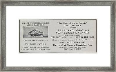 Clevland Canada Navigation Co Ca 1931 Framed Print by  Clevland Ohio Port Stanley