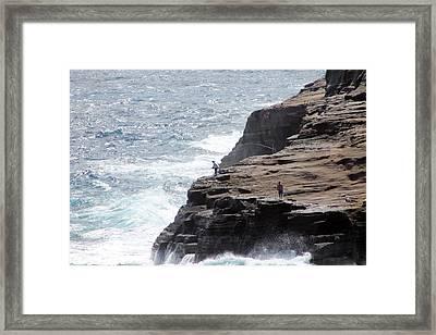 Cliff Fishing Framed Print by Elizabeth  Doran