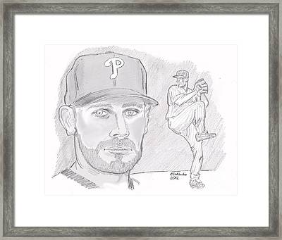 Framed Print featuring the drawing Cliff Lee by Chris  DelVecchio