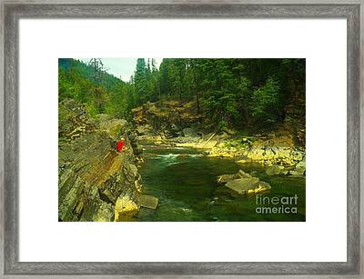 Cliff Over The Yak River Framed Print by Jeff Swan