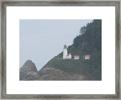 Cliff Side Light House Framed Print