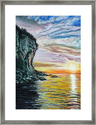 Cliff Sunset Framed Print by Peter Jackson