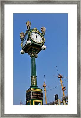 Clock At The Harbor Framed Print by Christine Burdine