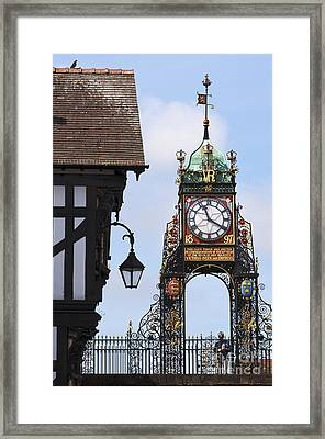 Clock In Chester Framed Print by Andrew  Michael