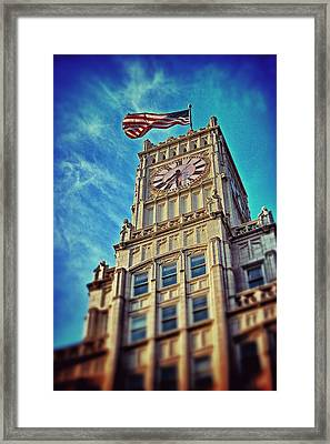 Framed Print featuring the photograph Clock Tower In Downtown Jackson 1 by Jim Albritton