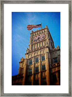 Framed Print featuring the photograph Clock Tower In Downtown Jackson 2 by Jim Albritton