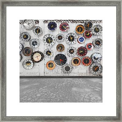 Clocks On The Wall Framed Print by Setsiri Silapasuwanchai