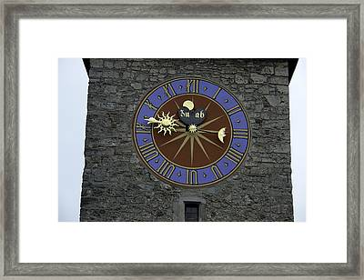 Clocktower In Lucerne On A Stone Tower Framed Print by Ashish Agarwal