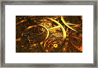 Clockworks And Gears Framed Print by Rimantas Vaiciulis