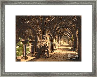 Cloister At St. Bavon Abbey Framed Print by Padre Art