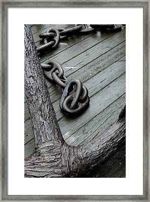 Close Up Of A Large Anchor And Chain Framed Print by Todd Gipstein