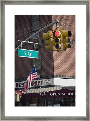 Close-up Of A Traffic Light, Ninth Avenue, Manhattan, New York City, New York State, Usa Framed Print by Glowimages