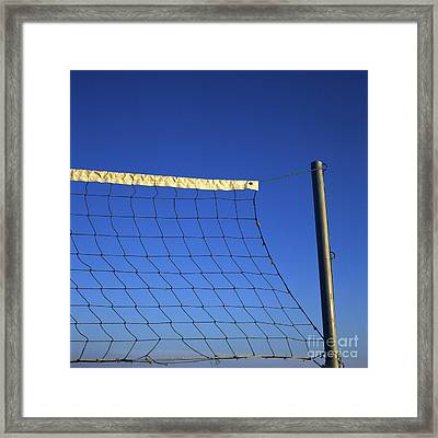Close-up Of A Volleyball Net Abandoned. Framed Print