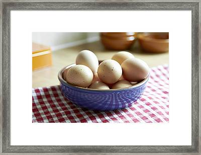 Close Up Of Bowl Of Eggs Framed Print by Debby Lewis-Harrison