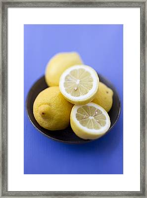 Close Up Of Bowl Of Lemons Framed Print by Brigitte Sporrer