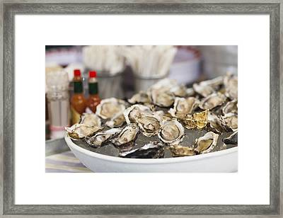 Close Up Of Bowl Of Oysters Framed Print