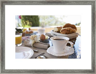 Close Up Of Coffee At Breakfast Table Framed Print