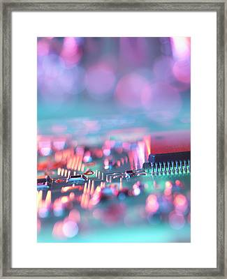 Close Up Of Colorful Circuit Board Framed Print by Cultura Science/Rafe Swan