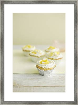 Close Up Of Cupcakes With Frosting Framed Print