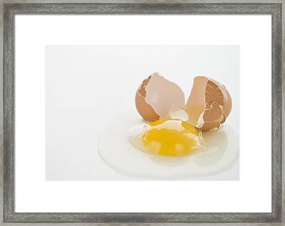 Close Up Of Fried Egg With Cracked Eggshell Framed Print