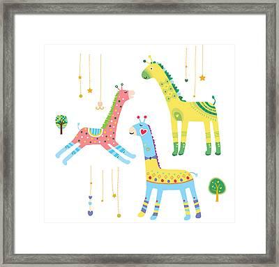 Close-up Of Giraffes Framed Print