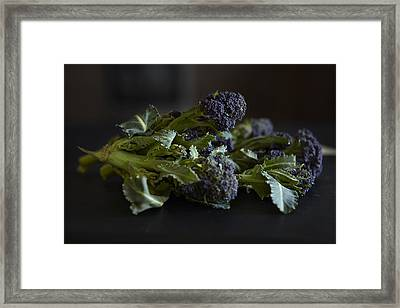Close Up Of Greens On Table Framed Print by Debby Lewis-Harrison