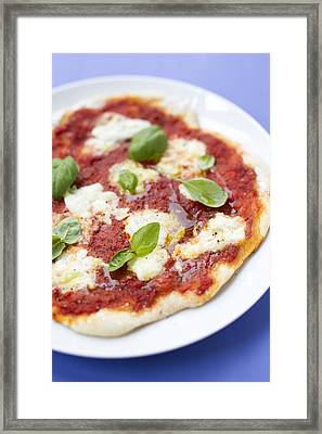 Close Up Of Pizza With Herbs And Cheese Framed Print by Brigitte Sporrer
