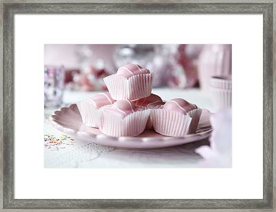 Close Up Of Plate Of Candies Framed Print by Debby Lewis-Harrison