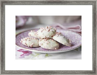 Close Up Of Plate Of Cookies Framed Print by Debby Lewis-Harrison
