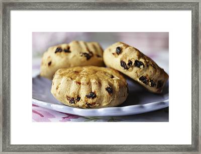 Close Up Of Plate Of Scones Framed Print by Debby Lewis-Harrison