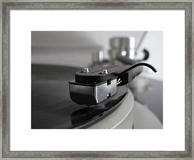 Close Up Of Record Player Framed Print by Hiroshi Uzu