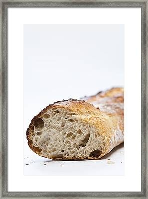 Close Up Of Sliced Loaf Of Bread Framed Print by Henn Photography