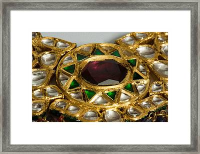 Close Up Of The Middle Pendant Section Of A Green And White Stone Inlaid Necklace Framed Print by Ashish Agarwal