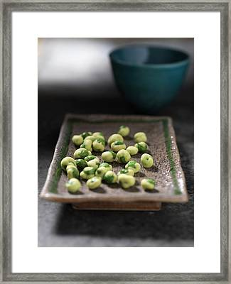 Close Up Of Tray Of Wasabi Peas Framed Print by Diana Miller