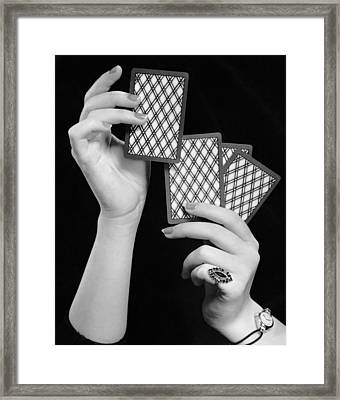 Close-up Of Woman's Hands W/playing Cards Framed Print by George Marks