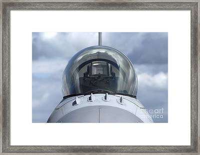 Close-up View Of The Canopy On A F-16a Framed Print by Ramon Van Opdorp