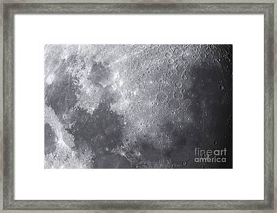 Close Up View Of The Moon Framed Print by Ken Crawford