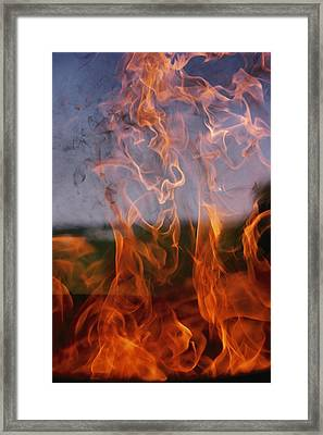 Close View Of Fire Framed Print by Brian Gordon Green
