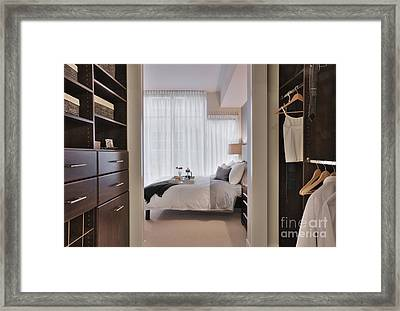 Closet In Upscale Bedroom Framed Print by Andersen Ross