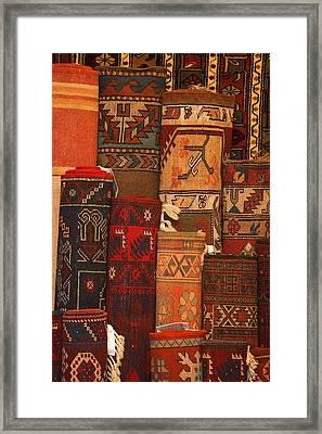 Closeup Of Carpet Rolls Framed Print by Carson Ganci