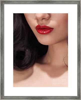 Closeup Of Woman Red Lips Framed Print by Oleksiy Maksymenko