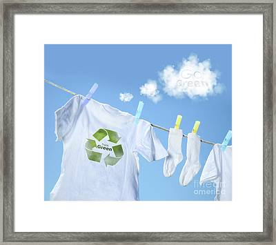 Clothes Drying On Clothesline With Go Green Sign  Framed Print