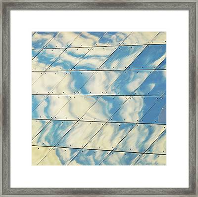 Cloud Reflections On Building Mirror Framed Print