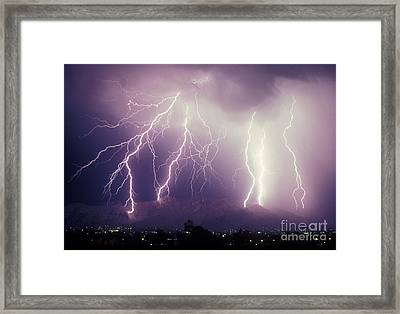 Cloud To Ground Lightning Framed Print by John A Ey III and Photo Researchers