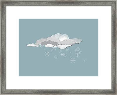Clouds And Snowflakes Framed Print