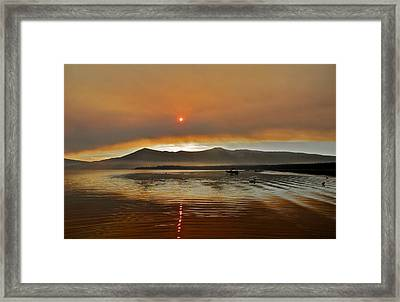 Clouds And Sun In A Smoky Sky Framed Print