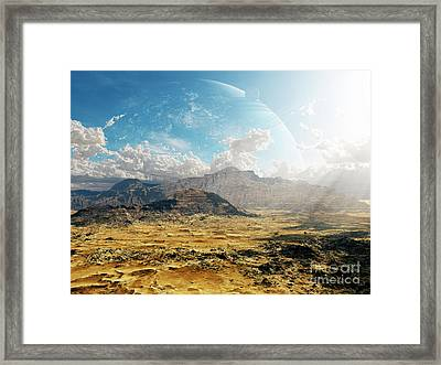 Clouds Break Over A Desert On Matsya Framed Print by Brian Christensen