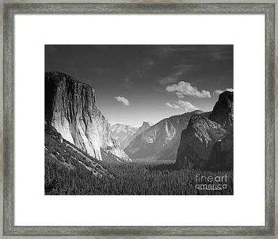 Clouds Over Yosemite Valley Black And White Framed Print