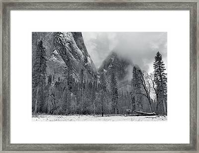 Clouds Over Yosemite Valley Framed Print by Stephen  Vecchiotti
