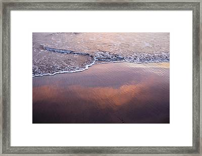 Clouds Reflected In Waves On Beach Framed Print by Cultura Travel/Zak Kendal